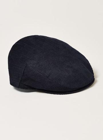 Topman Mens Navy Corduroy Flat Cap