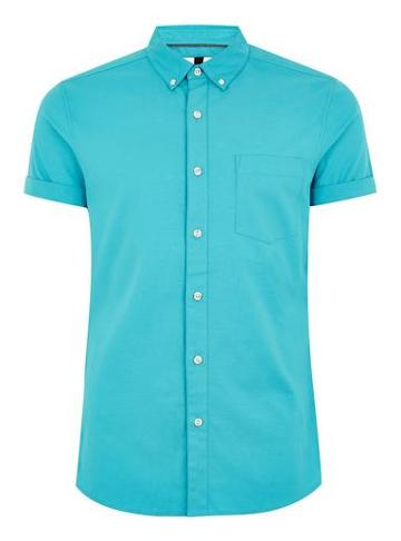Topman Mens Blue Muscle Short Sleeve Oxford Shirt