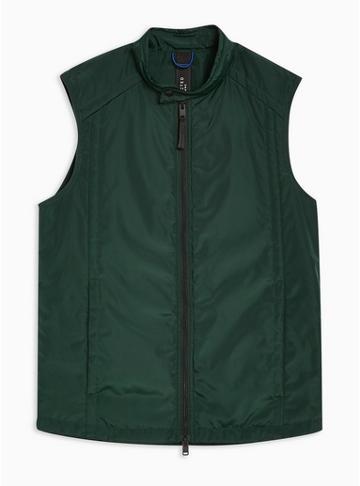 Topman Mens Khaki Selected Homme Green Body Warmer Gilet