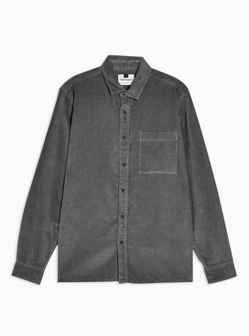 Topman Mens Mid Grey Grey One Pocket Corduroy Slim Shirt