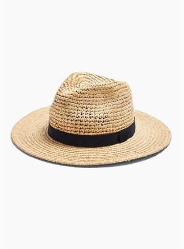 Topman Mens Yellow Straw Hat With Trim