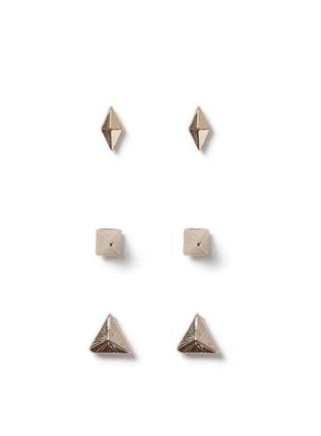 Topman Mens Gold Look Triangle Stud Earrings 3 Pack*