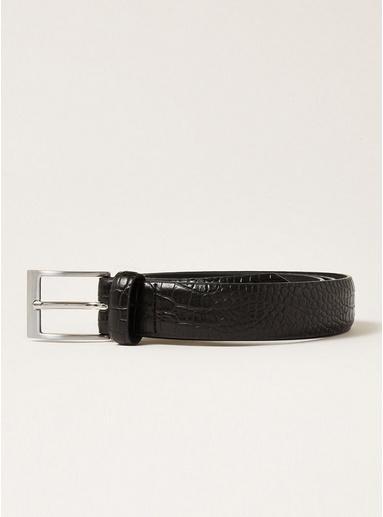 Topman Mens Black Smart Pu Reptile Belt