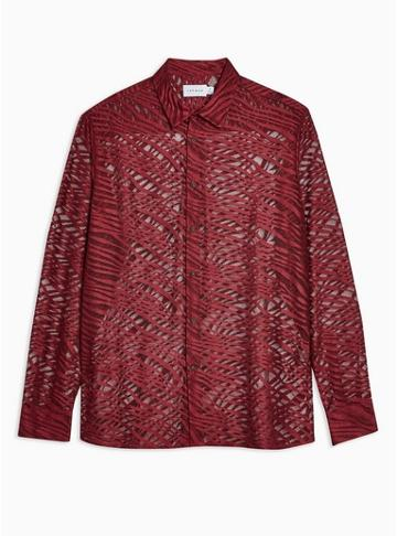 Topman Mens Red Burgundy Zebra Print Lace Slim Shirt