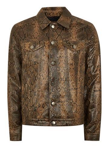 Topman Mens Red Leather Snake Print Western Jacket