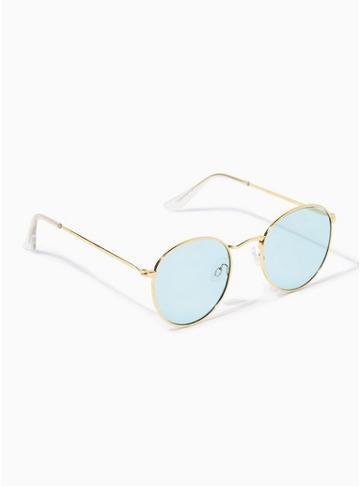 Topman Mens Gold And Aqua Blue Round Sunglasses