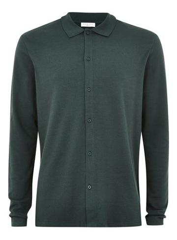 Topman Mens Selected Homme Green Polo