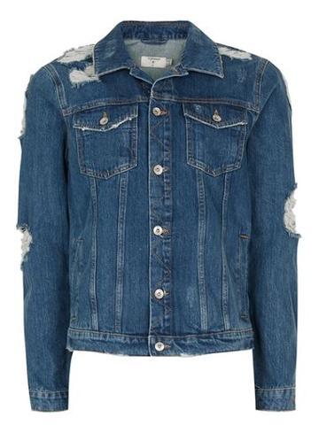 Topman Mens Blue Extreme Ripped Denim Jacket