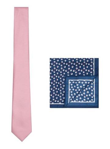 Topman Mens Pink Tie And Pocket Square Set