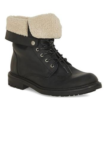 Topman Mens Black Leather Fold Down Boots
