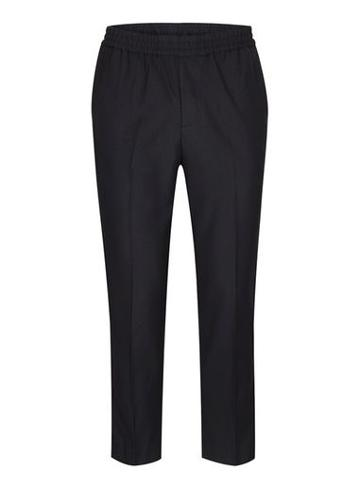 Topman Mens Blue Navy Side Piping Cropped Formal Joggers