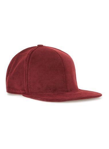 Topman Mens Red Burgundy Corduroy Snapback Cap