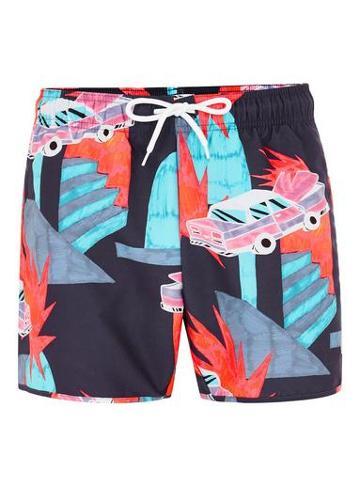 Topman Mens Navy Neon Car Pattern Swim Shorts