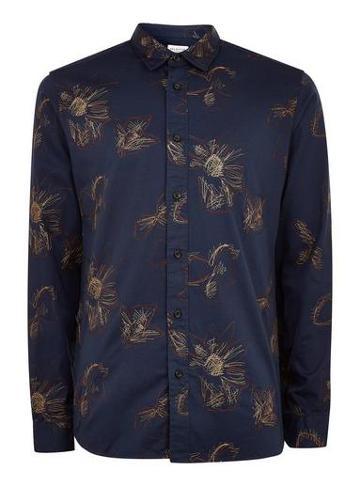 Topman Mens Selected Homme Navy Printed Shirt