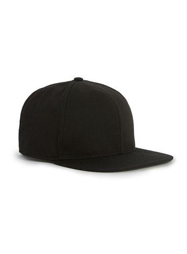 Topman Mens Black Subtle Check Nylon Snapback Cap