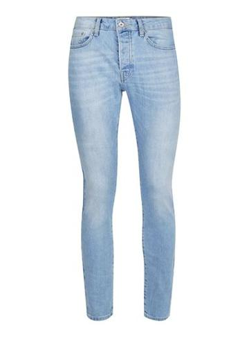 Topman Mens Bleach Washed Blue Stretch Tapered Fit Jeans