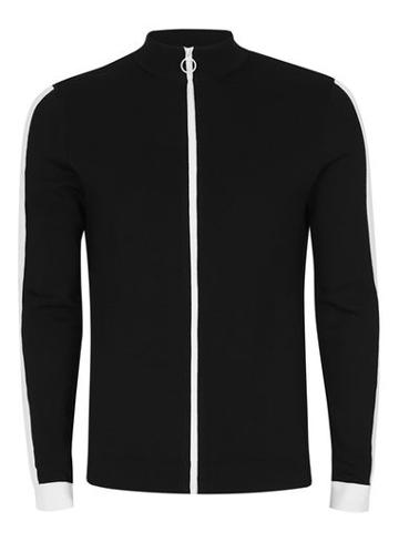 Topman Mens Black And White High Neck Track Top
