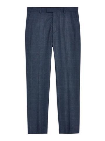 Topman Mens Navy Windowpane Slim Trousers