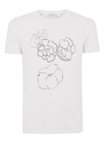 Topman Mens Selected Homme White Printed T-shirt
