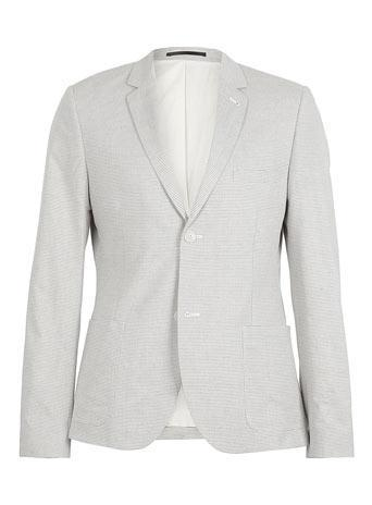 Topman Off White Striped Skinny Blazer