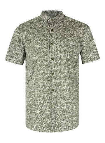 Topman Mens Green Khaki Dotty Short Sleeve Casual Shirt