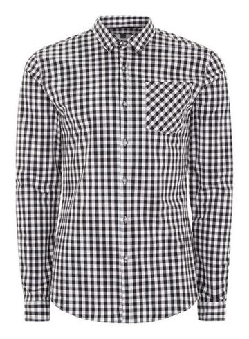 Topman Mens Black And White Gingham Muscle Shirt
