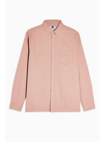 Topman Mens Pink Long Sleeve Twill Shirt