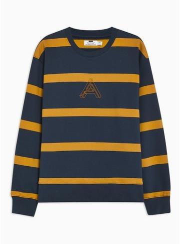Topman Mens Multi Navy And Yellow Embroidered Stripe Sweatshirt