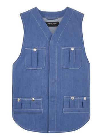 Topman Mens Topman Design Blue Denim Cargo Vest