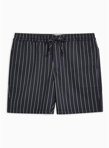 Topman Mens Navy Pinstripe Pull On Shorts