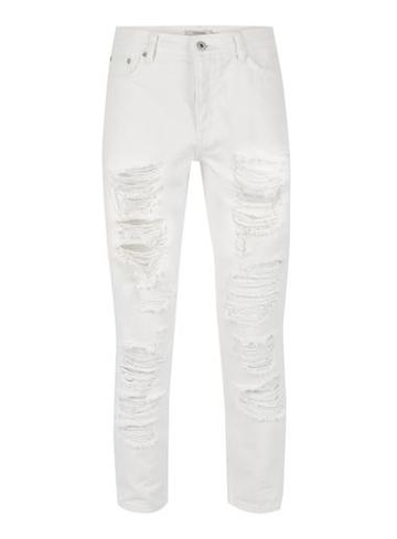 Topman Mens Cream White Extreme Ripped Tapered Jeans