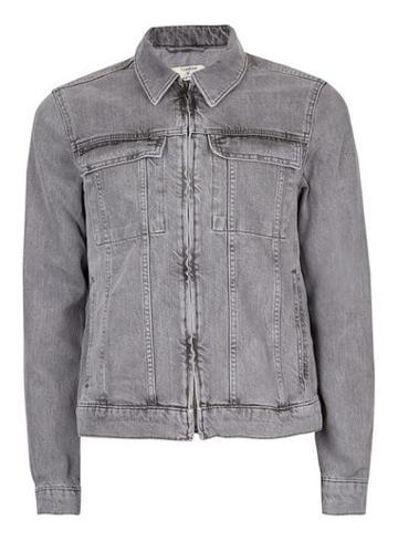 Topman Mens Grey Gray Zip Through Denim Jacket