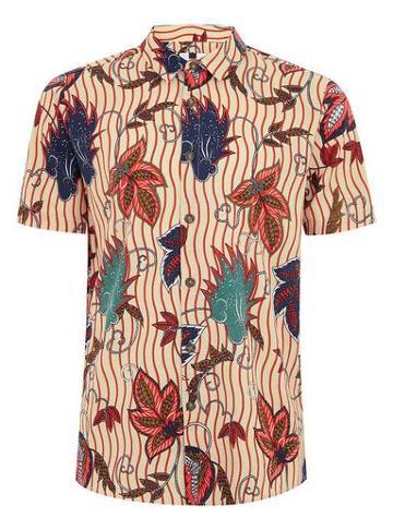Topman Mens Beige Floral Print Short Sleeve Shirt