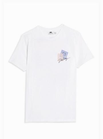 Topman Mens White Slub Stepped Hem T-shirt
