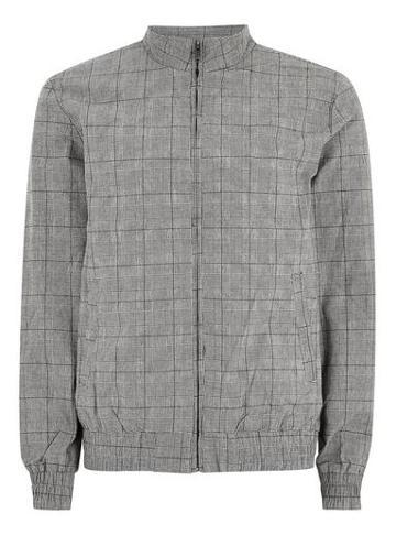 Topman Mens Mid Grey Grey Checked Harrington Jacket
