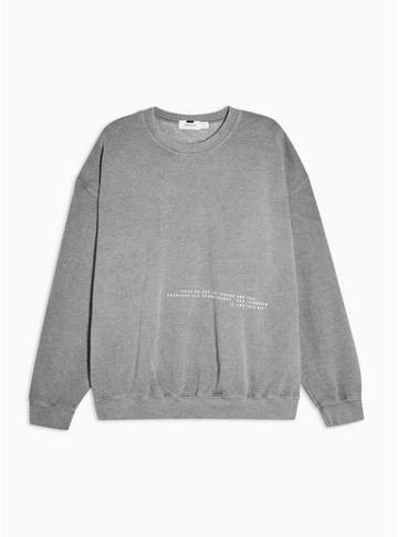 Topman Mens Grey Black Wash Placement Sweater