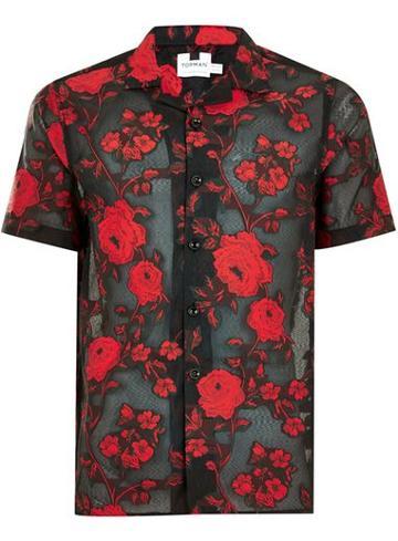 Topman Mens Black Rose Jacquard Shirt