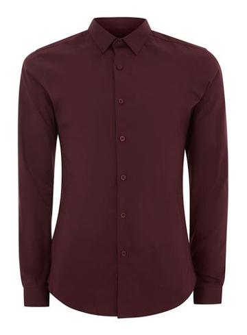 Topman Mens Grey Burgundy Muscle Fit Shirt