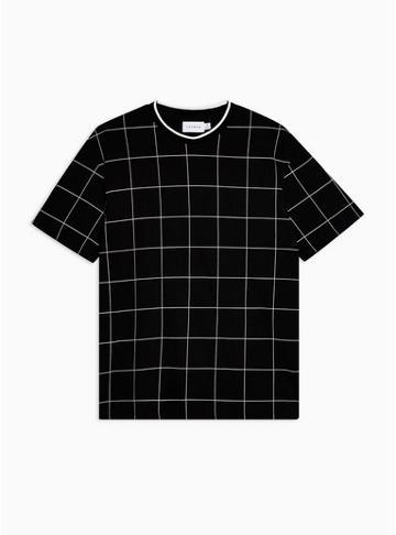 Topman Mens Black Windowpane Check T-shirt