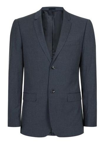 Topman Mens Blue Navy Marl Skinny Fit Suit Jacket