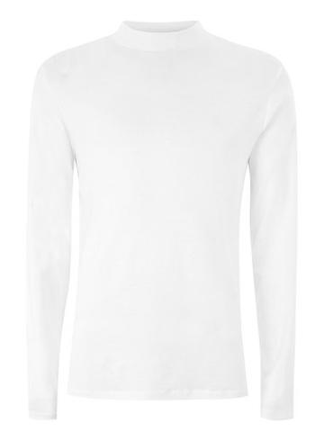 Topman Mens Selected Homme White Long Sleeve High Neck Top