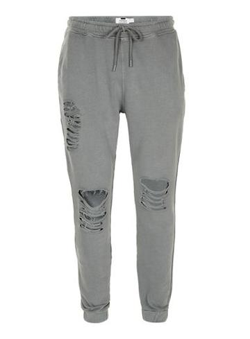 Topman Mens Washed Black Ripped Joggers