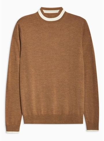Topman Mens Brown Toffee Merino Tipped Turtle Neck Sweater