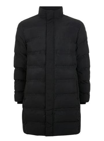 Topman Mens Selected Homme Black Long Puffer Jacket