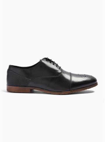 Topman Mens Black Leather Ollie Oxford Shoes