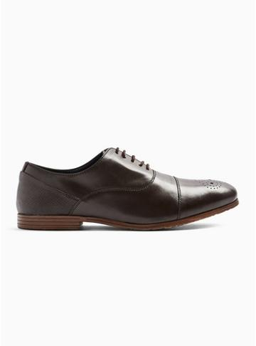 Topman Mens Brown Leather Ollie Oxford Shoes