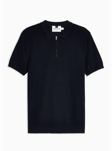 Topman Mens Navy Short Sleeve Stitch Polo