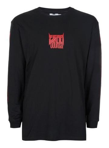 Topman Mens Black Printed Oversized Long Sleeve T-shirt