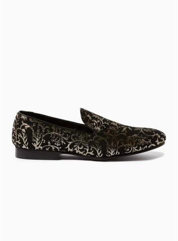 Topman Mens Gold And Black 'boa' Brocade Loafers
