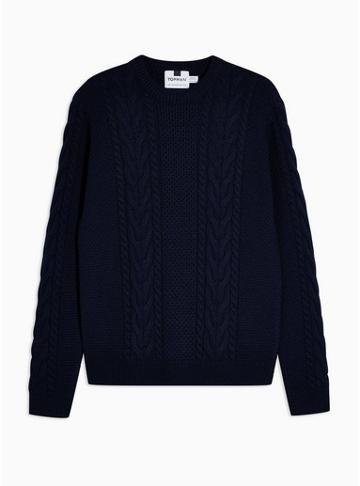 Topman Mens Navy Cable Knit Sweater With Wool